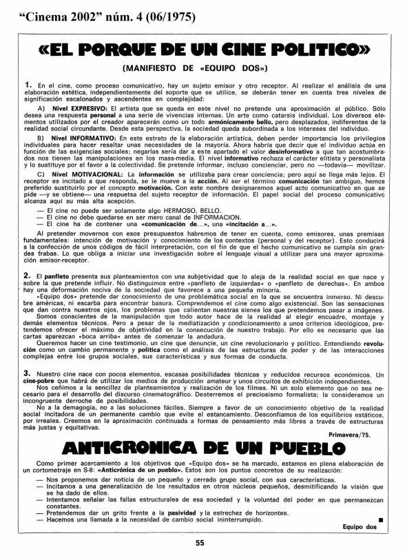 manifiesto de equipo dos, cinema 2002, 06/1975